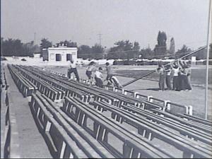 Установка радио-матч на центральной трибуне стадиона